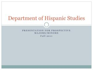 Department of Hispanic Studies