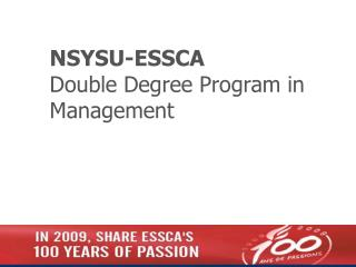 NSYSU-ESSCA Double Degree Program in Management