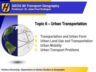 Topic  6  � Urban Transportation