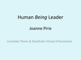 Human  Being  Leader Joanne Pirie