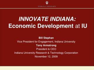 INNOVATE INDIANA: Economic Development  at  IU