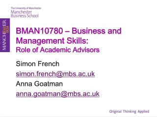 BMAN10780 – Business and Management Skills: Role of Academic Advisors