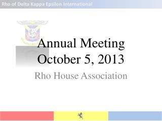 Annual Meeting October 5, 2013