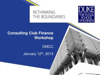 Consulting Club Finance Workshop