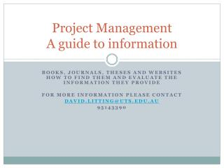 Project Management A guide to information