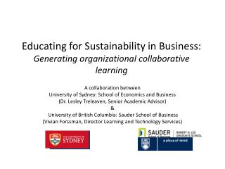 Educating for Sustainability in Business:  Generating organizational collaborative learning