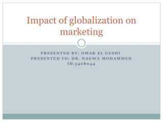 Impact of globalization on marketing