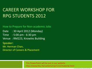 Career Workshop for  RPg students 2012