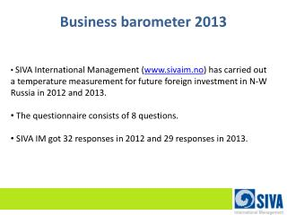 Business barometer 2013