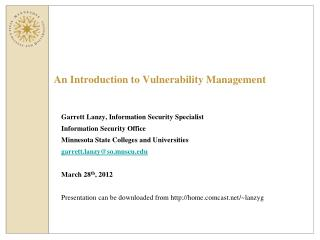 An Introduction to Vulnerability Management