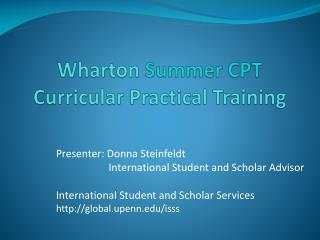 Wharton  Summer CPT Curricular Practical Training