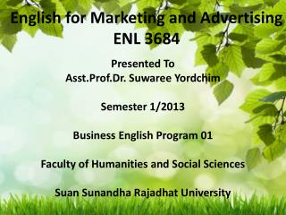 English for Marketing and Advertising ENL 3684