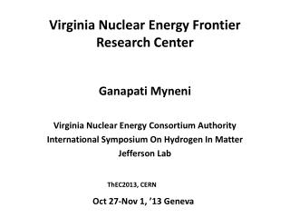 Virginia Nuclear Energy Frontier Research Center