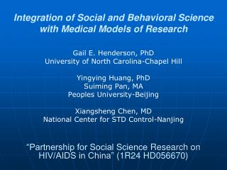 Integration of Social and Behavioral Science with Medical Models of Research