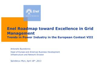 Enel Roadmap toward Excellence in Grid Management Trends in Power Industry in the European Context VIII