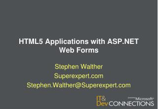 HTML5 Applications with ASP.NET Web Forms