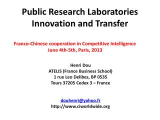 Public  Research Laboratories  Innovation and Transfer