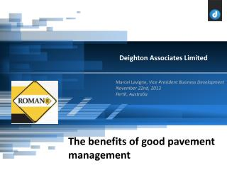 Recent history of Pavement Management Evolution in recent years Impact on PMS Why use a PMS? Prioritization  vs  Optimi