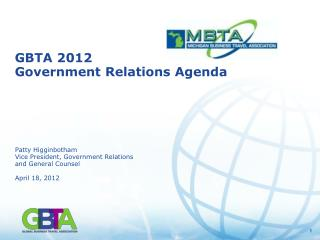 GBTA 2012 Government Relations Agenda