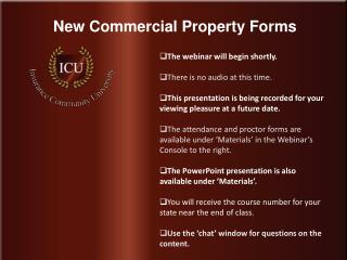 New Commercial Property Forms