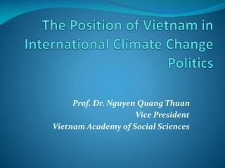 The Position of Vietnam in International Climate Change Politics