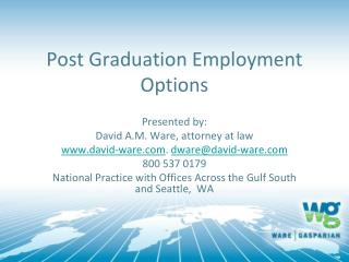 Post Graduation Employment Options