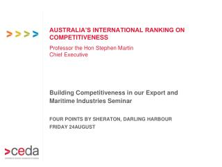 AUSTRALIA'S INTERNATIONAL RANKING ON  COMPETITIVENESS