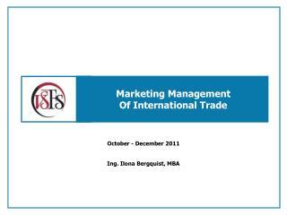 Marketing Management Of International Trade