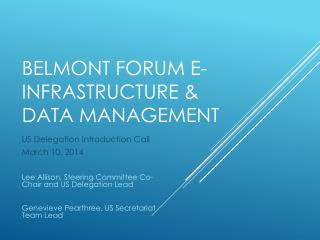 Belmont Forum E-Infrastructure & Data Management