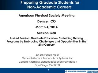 Preparing Graduate Students for  Non-Academic  Careers