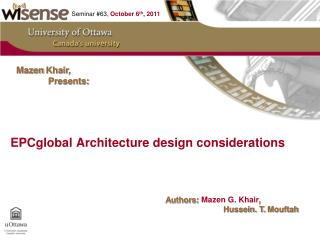 EPCglobal  Architecture design considerations