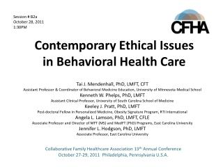 Contemporary Ethical Issues in Behavioral Health Care
