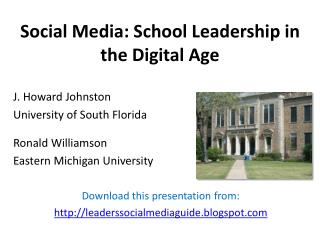 Social Media: School Leadership in the Digital Age