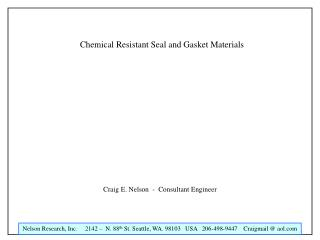 Chemical Resistant Seal and Gasket Materials