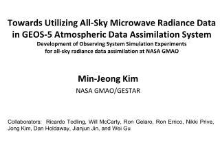 Min-Jeong Kim NASA GMAO/GESTAR