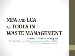 MFA  and  LCA  as tools in  waste  management
