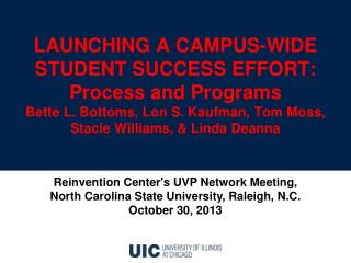 LAUNCHING A CAMPUS-WIDE STUDENT SUCCESS EFFORT: Process  and P rograms  Bette L. Bottoms ,  Lon S. Kaufman ,  Tom Moss