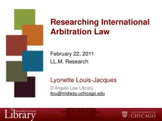 Researching International Arbitration Law