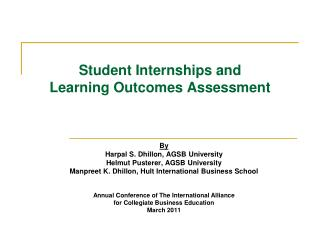 Student Internships  and  Learning Outcomes Assessment