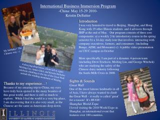 International Business Immersion Program -China: May 15-29 2010- Kristin DeSutter