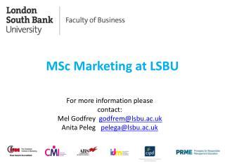 MSc Marketing at LSBU