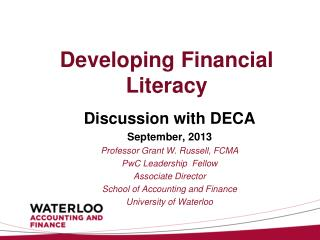 Developing Financial Literacy