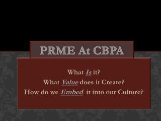 PRME At CBPA