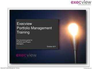 Execview  Portfolio Management  Training