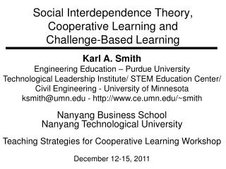 Social Interdependence Theory, Cooperative Learning and Challenge-Based Learning