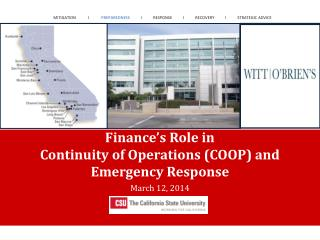 Finance�s Role in  Continuity  of Operations  (COOP) and  Emergency Response