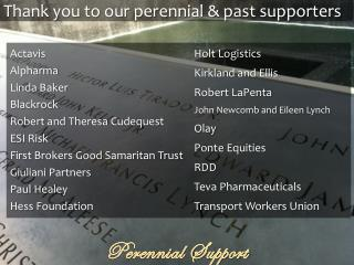 Thank you to our perennial & past supporters