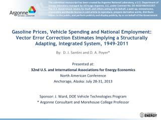 Gasoline Prices, Vehicle Spending and National Employment:  Vector Error Correction Estimates Implying a Structurally A