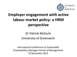 Employer engagement with active labour market policy: a HRM perspective