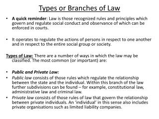 Types or Branches of Law